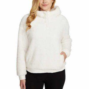 Lukka Lux Ladie' Cozy Sherpa Fleece Hoodie White
